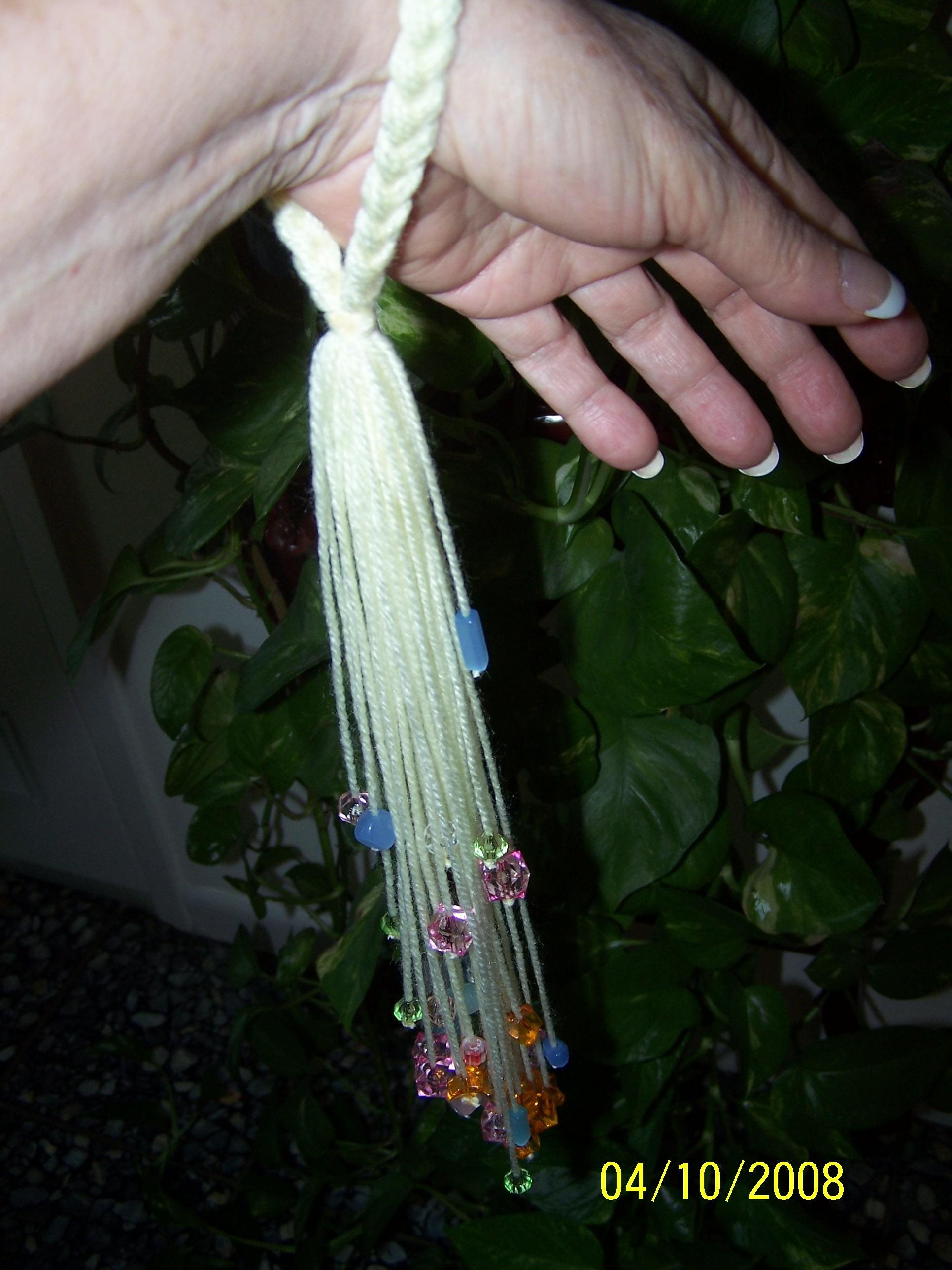 How to make a beaded wrist distaff tutorial fabric follies two my handmade beaded wrist distaff sciox Gallery