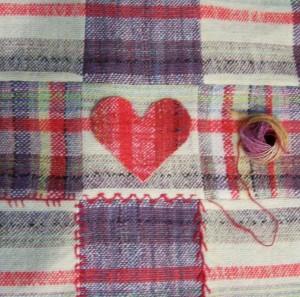 Nine Patch..hand spun, kool aid dyed, hand woven