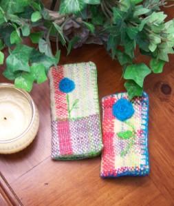 Hand spun, dyed, woven Needlebooks